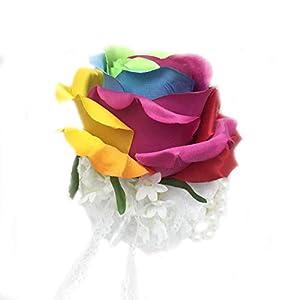 Lily Garden Silk Rainbow Rose Flowers Bouquet Boutuniere (Wrist Corsage) 64