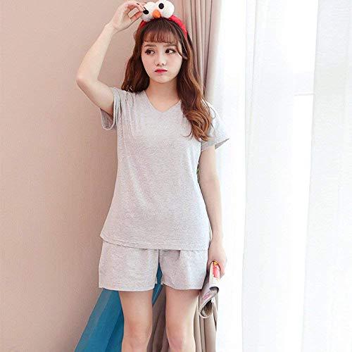 Basic Grey Pijamas Elegante Manga Pantalones V Primavera Impresión Mujer Camison Larga De 2 Ropa Dormir Pants Otoño Pedazos Pijama Fashion Tops cuello Conjunto Br8Bwqx