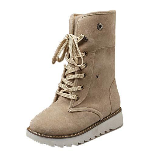 Nieve Cálidas Snow Mujer Botas Boots Caña Botines Invierno Amarillo Forradas 43 Negro Piel Marrón Calientes Fur Beige Calentar De Planos Altas 34 Casual Antideslizante OO5qxwZ