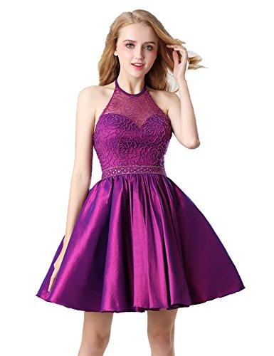 Belle House Short Homecoming Dresses for Juniors 2019 Prom Dresses Purple Halter Graduation Dresses Ball Gown ()