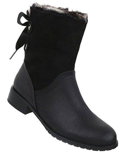 Boots Damen Used Stiefeletten Optik Schwarz Schuhe znwwZI1q