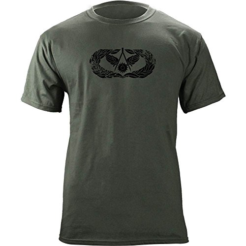 (Vintage Air Force Civil Engineer Badge Subdued Veteran T-Shirt (L, Green))