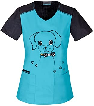Cherokee 2767 Women's V-Neck Top Give a Dog a Bow-n X-Small