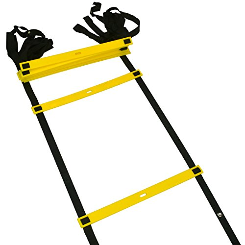 Speed Training Agility Ladders, Jmkcoz Personal Training Equipment 10 Rung Adjustable Football Basketball Training Agility Ladder with Black Carry Case