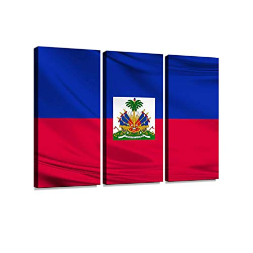 Haiti Flag Blowing in The Wind 3 Pieces Print On Canvas Wall Artwork Modern Photography Home Decor Unique Pattern Stretched and Framed 3 Piece