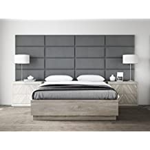 """VANT Upholstered Headboards - Accent Wall Panels By- Packs Of 4 - Suede Gray - 30"""" Wide x 11.5"""" Height - Easy To Install - Queen - Full Headboard"""