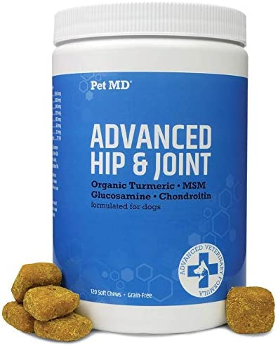 Pet MD Glucosamine for Dogs – Joint Supplement for Dogs with Glucosamine, Chondroitin, MSM, Turmeric, & Yucca – Delicious Bacon Flavored Dog Hip and Joint Supplement- 120 Ct