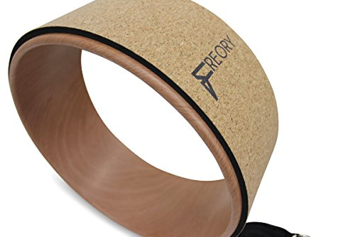 BodyGood Cork Yoga Wheel. Pro Grade, 13 inch Dharma Yoga Prop Supports up to 500 lbs. Improve Back Bends, Deepen Practice or Release Tight Muscles (Cork/Woodgrain).