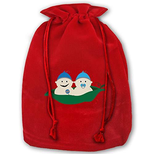 Pea Designs Sweet Red (TPSXXY Baby Peas Large Christmas Drawstring Bag Santa Present Bag Basket Gifts Sack)