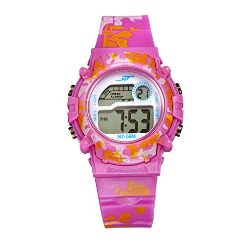 Kids Multi-Function Sport Watch Calendar Alarm Wristwatch for Boys and Girls (Purple)