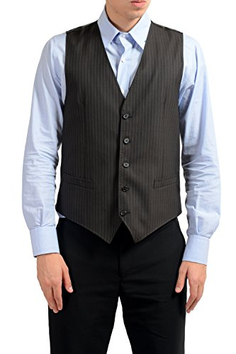 Dolce & Gabbana Men's 100% Wool Brown Striped Button Up Dress Vest US 40 IT 50 ()