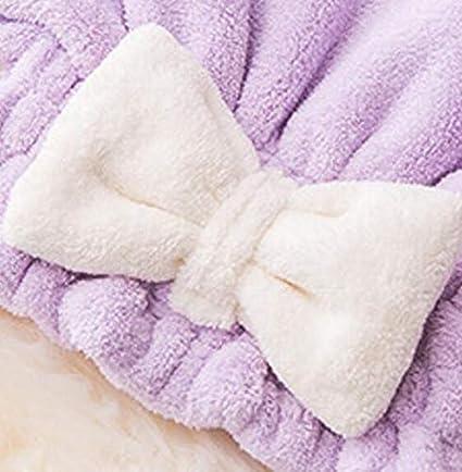 Soft Bow Toallas para el cabello Secador de pelo Gorro de secado Gorro de baño Turbante