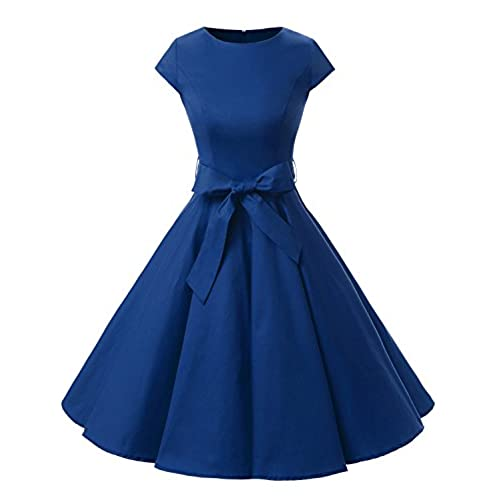 Dressystar DS1956 Women Vintage 1950s Retro Rockabilly Prom Dresses Cap-Sleeve L Royal Blue