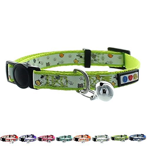 Pawtitas Pet Glow In The Dark Cat Collar with Safety Buckle and Bell Green Hook (Cat Collar Glow)