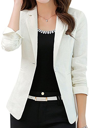 Petites Suit Jacket One Button (S&S Women's Petite Slim Linen Candy Colors One Button Suit Coat Blazer)