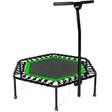 Sportplus Silent Fitness Mini Trampoline with Handle Bar/Or Replacement Bungees - Indoor Rebounder for Adults - Best Urban Cardio Workout Home Trainer, Covered Bungee Rope System - Max 286 lbs