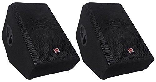 (2) Rockville RSM15A 15'' 2-Way Powered Active Floor Monitor Speakers 2800 Watts by Rockville
