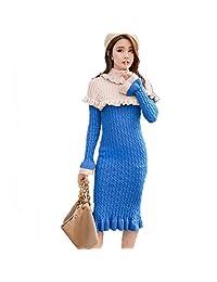 Cxlyq Dresses Autumn Winter Women Turtleneck Collar Warm Knitted Dress Ruffles Patchwork Female Elegant Sweater Dress Casual Jumper