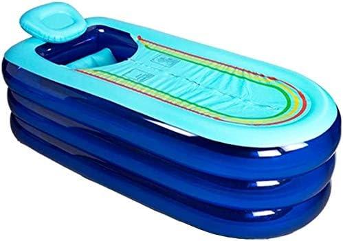 ホームと携帯用折りたたみインフレータブルバスタブ枕アンチ滑りやすいプール単一の厚いシート浴場 (Color : Blue)