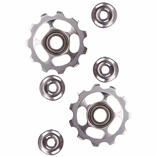 2pcs 11T Bike Aluminum Alloy Bearing Jockey Wheel Rear Derailleur(Silver) - 4
