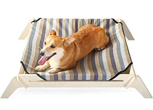 oden Elevated Dog Bed, Large, Pin Striped Canvas, Raised Dog Bed off the Ground, Natural Plywood Frame, Pet Cot ()