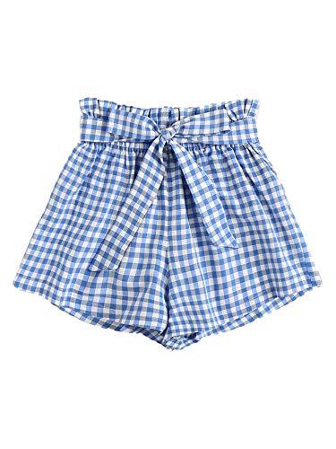 (WDIRARA Women's Plaid Belted Elastic Waist Summer Shorts Jersey Walking Shorts Blue S)