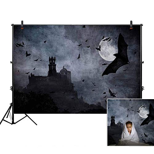 Allenjoy 7x5ft Scary Castle Bats Moonlight Halloween Backdro
