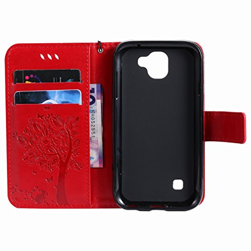 Yiizy LG K3 (2017) Custodia Cover, Alberi Disegno Design Premium PU Leather Slim Flip Wallet Cover Bumper Protective Shell Pouch with Media Kickstand Card Slots (Rosso)
