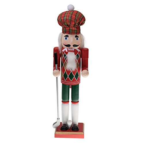 Clever Creations Golfer Nutcracker Christmas Plaid Hat and Festive Red and Green Argyle Design on Front | Holding Club | Perfect for Shelves and Tables | Collectible Wooden Nutcracker | -