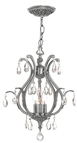 Antique Brass/Hand Polished Crystal Three Light Up Lighting Chandelier from The Dawson Collection