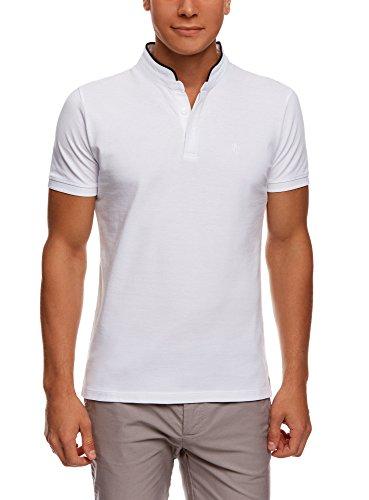 oodji Ultra Herren Pique-Poloshirt mit Kontrastbesatz, Weiß, L / EU 52 (DE 52-54)