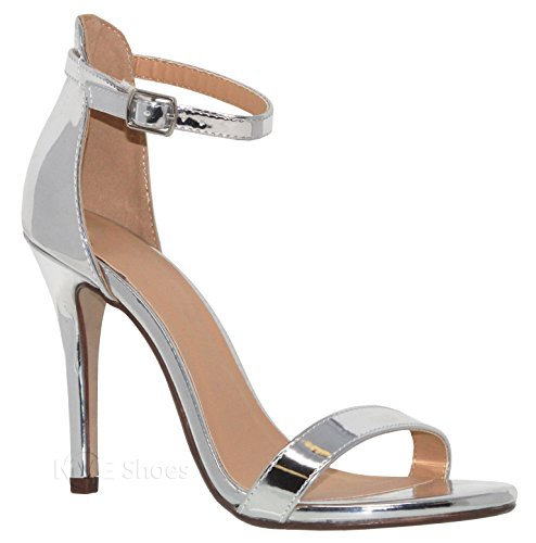 Chunky Shoes Silver t Strap Ankle Fashion Sandals Heeled MVE Women's w7HdqAx7X