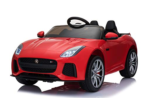 First Drive Jaguar F-Type Red 12v Kids Cars - Dual Motor Electric Power Ride On Car with Remote, MP3, Aux Cord, Led Headlights and Rear Lights, and Premium Wheels