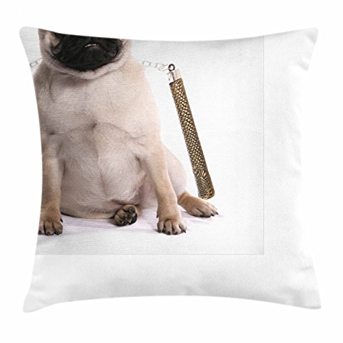 Party City Karate Kid Costume (Pug Throw Pillow Cushion Cover by Ambesonne, Ninja Puppy with Nunchuk Karate Dog Eastern Warrior Inspired Costume Pug Image, Decorative Square Accent Pillow Case, 20 X 20 Inches, Cream Black Gold)