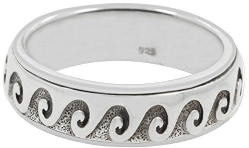 New 0.925 Sterling Silver Ocean Wave Curl Spinner Aquatic Ring -