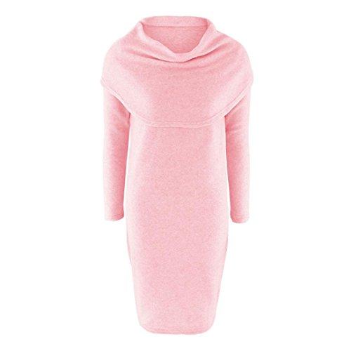 Women Sweater Dress,Neartime Long Sleeve Bodycon Lapel A Line Dresses (M, Pink)
