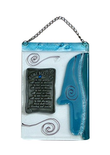 Hamsah Home Blessing, Pewter Plaque With Blessing Blue Sky Turquoise Blue Rhinestones Comes with Chain Size: 5