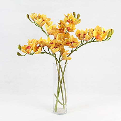 DecorFav Indigo - 4 Pieces Yellow Cymbidium Orchid Real Touch Orchids Wedding Flower Artificial Fake Plants Floral Event Party Creative Style ()