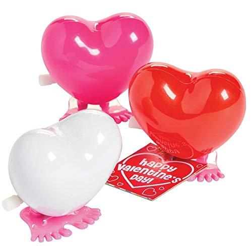 (Fun Express Valentine Hopping Hearts Wind-Up Toys (1 Dozen) Valentine's Day)