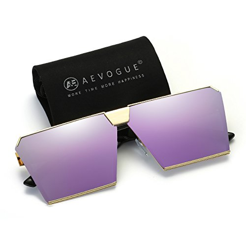 AEVOGUE Sunglasses For Men Square Oversized Metal Frame Brand Designer AE0436 (Purple&Gold, - Designer All Glasses