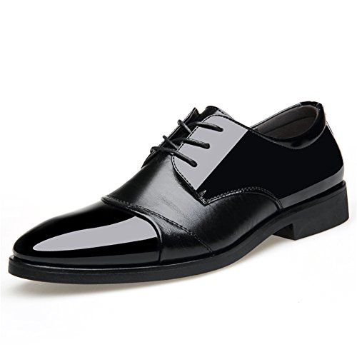 42 Wedding Comfort Lace Casual Black up Microfiber for Brown Business Formal Summer Spring HUAN Black Men's Color Shoes Size Work Shoes YCxqwngXR