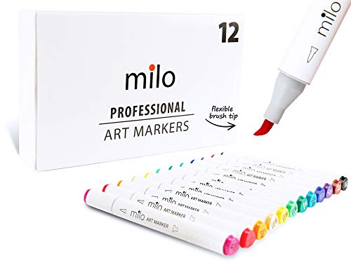 - Milo PRO | Art Markers with Brush Tip and Chisel Set of 12 | Alcohol-Based Dual Tip with Soft Flexible Brush Nib