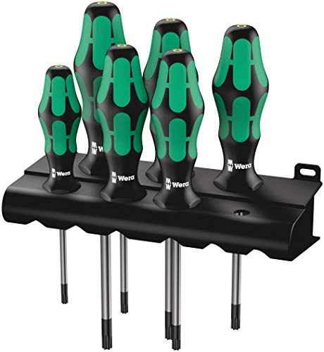 Wera 05028059001 Kraftform Plus 367/6 HF Torx HF Screwdriver Set and Rack, Lasertip, With Holding Function, 6-Piece