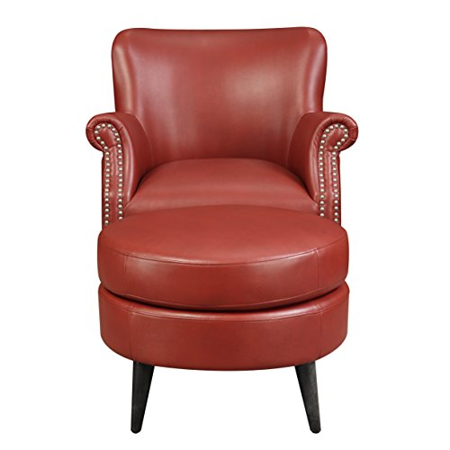 Emerald Home Oscar Red Accent Chair And Ottoman with Faux Leather Upholstery And Nailhead Trim