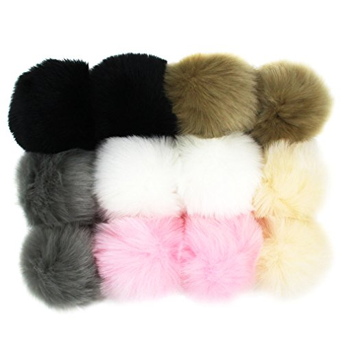 Fur Handmade Faux (DIY 12pcs 3.5INCH Faux Fur Pom Pom Soft Faux PomPom Handmade Craft Supply (Popular Mix Color))