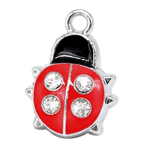 M97-E Cute Insert Red Ladybug Beetle Crystal Charms Pendant Wholesale (10 pcs)