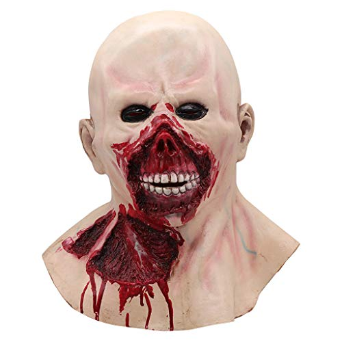 Aviat Happy Halloween Horrible Baldheaded Zombie Mask, Bloody Scary Realistic Grimace Toy, Natural Harmless Latex,Decorations for Halloween Masquerade Cosplay Party Costume. (A)