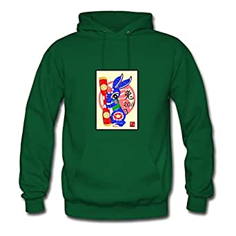 X-large Lightweight Women Hoodies 2011 The Year Of Rabbit By Theresawilkins Green