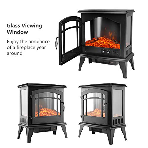 YOUNIS Portable Electric Fireplace Stove- 24-in H Freestanding Electric Stove Heater, Traditional Electric Stove, High, Low, Without Heat Control, Safety Cut-Off, Safety Tip-Over Switch, Classic Senio