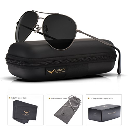 LUENX Aviator Sunglasses Men Women Non-Mirror Polarized UV400 Metal Frame 60MM (018-Grey, 60) by LUENX